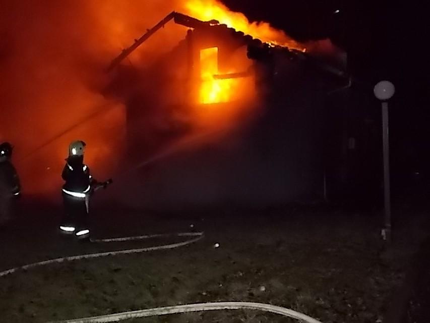 ВЗаокском районе поздним вечером сгорел дом