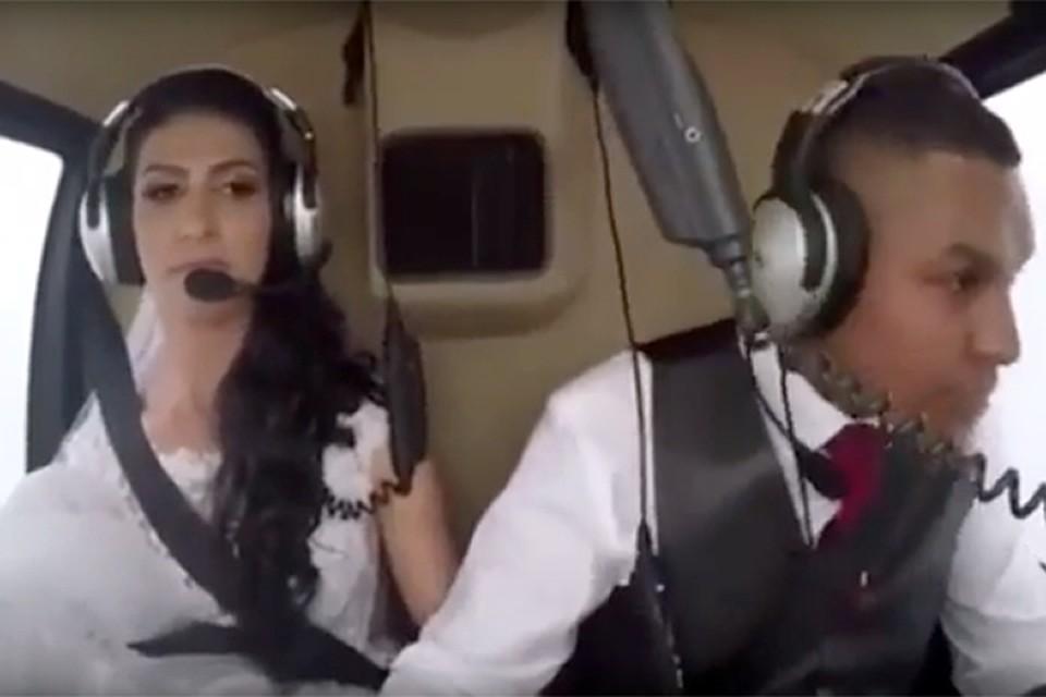 Размещено видео падения вертолета слетевшей насвадьбу невестой