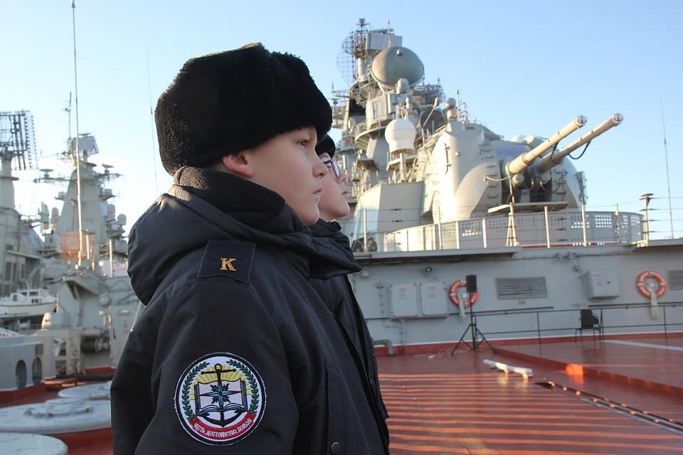 Наборту атомного ракетного крейсера «Пётр Великий» состоялось посвящение вкадеты