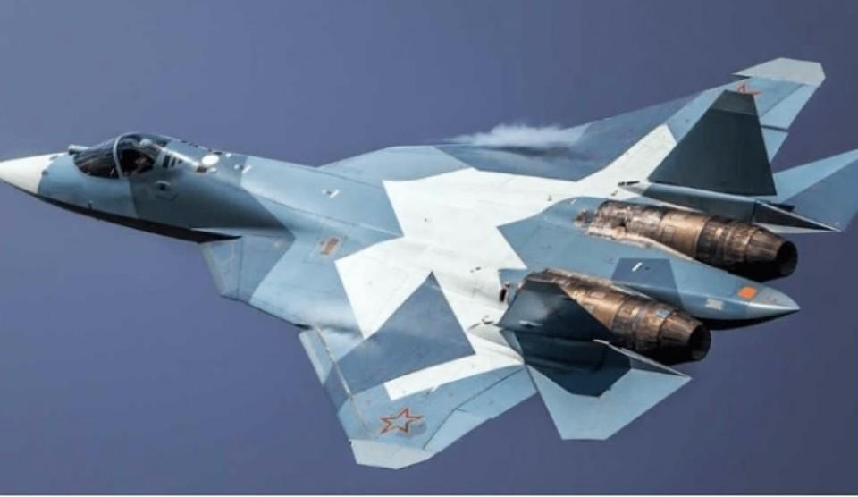 Русский  истребитель Су-57 совершил 1-ый  полет сновым мотором