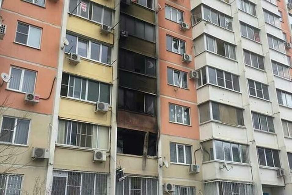 ВКраснодаре произошел пожар в многоэтажном здании
