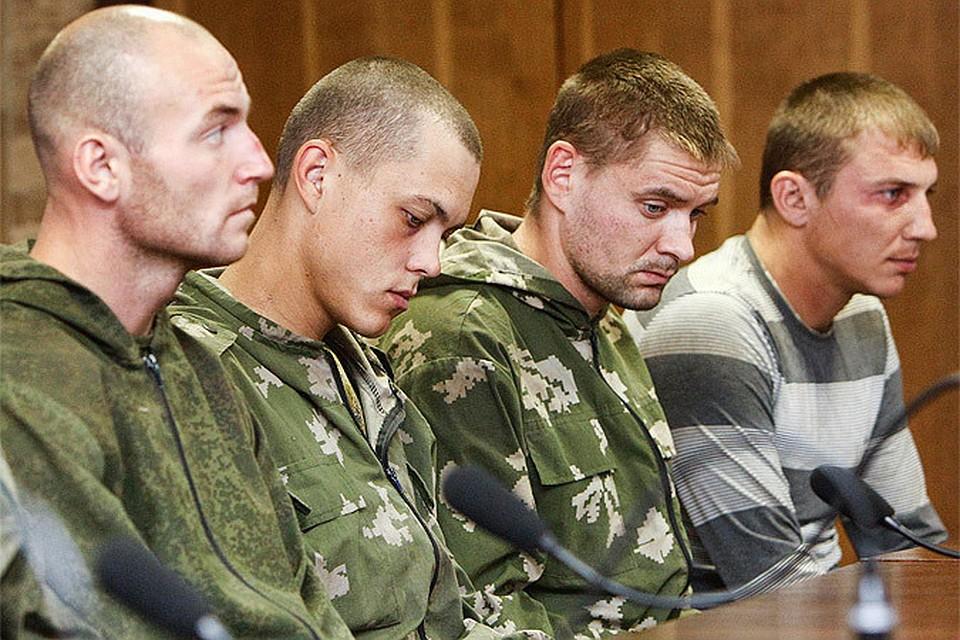 Российские десантники на пресс-конференции в Киеве.