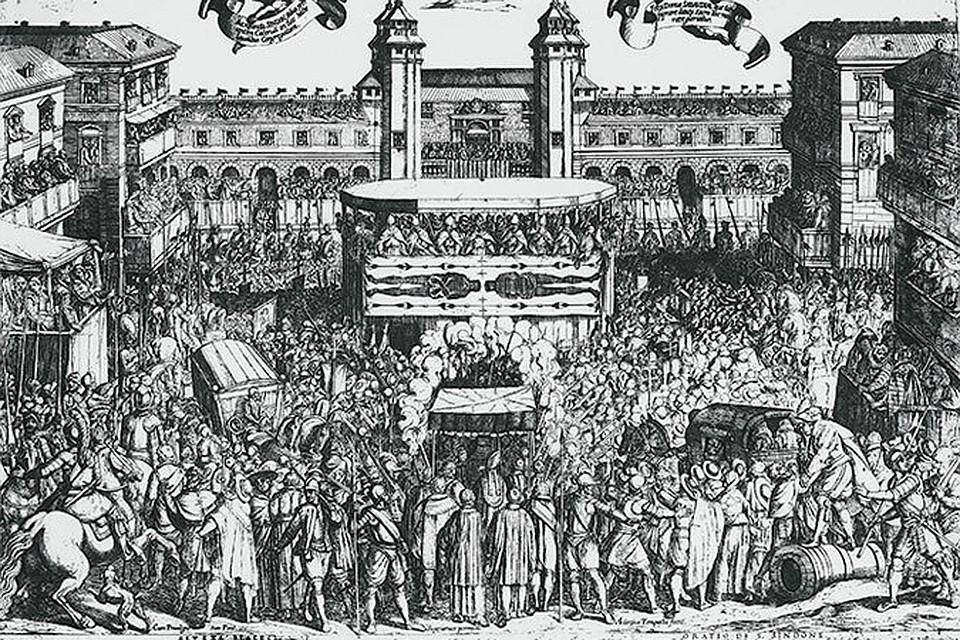 Средневековая гравюра Антонию Темпеста, где запечатлена плащаница