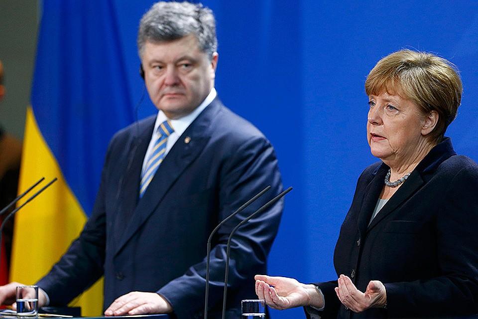 Петр Порошенко и Ангела Меркель на пресс-конференции по итогам переговоров.