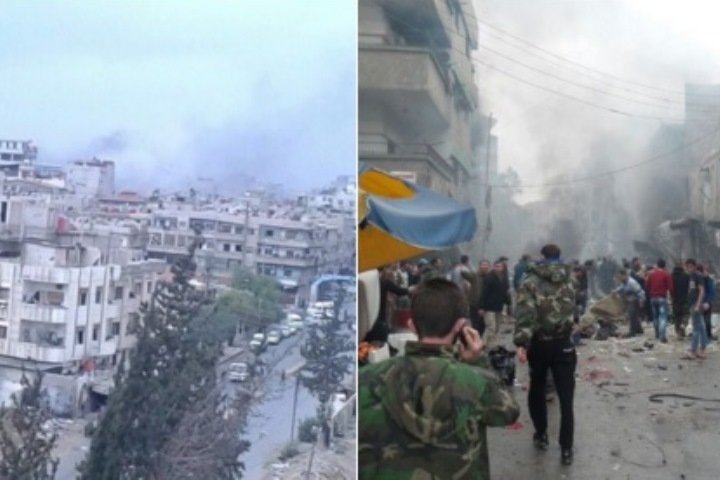 Фото: Twitter @halona - очевидца взрывов в Дамаске