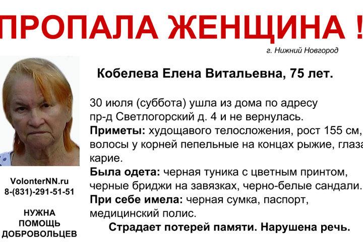 ВНижнем Новгорода пропала 75-летняя Елена Кобелева