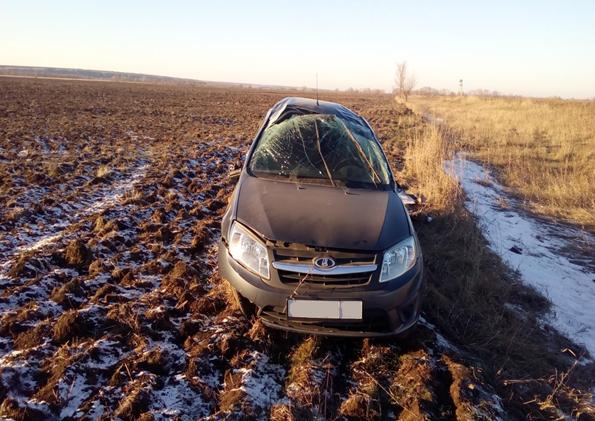 ВКинельском районе 27-летняя девушка на Лада Granta перевернулась вкювет