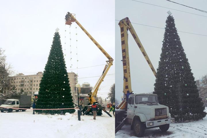 На площади Горького начался монтаж главной елки Нижнего Новгорода.