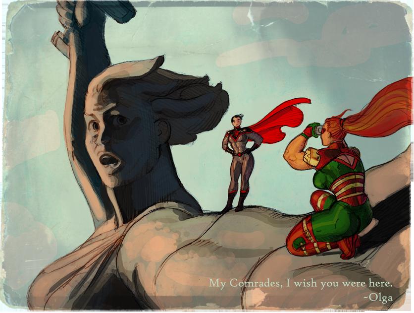 Американский художник изобразил на«Родине-матери» супергероев