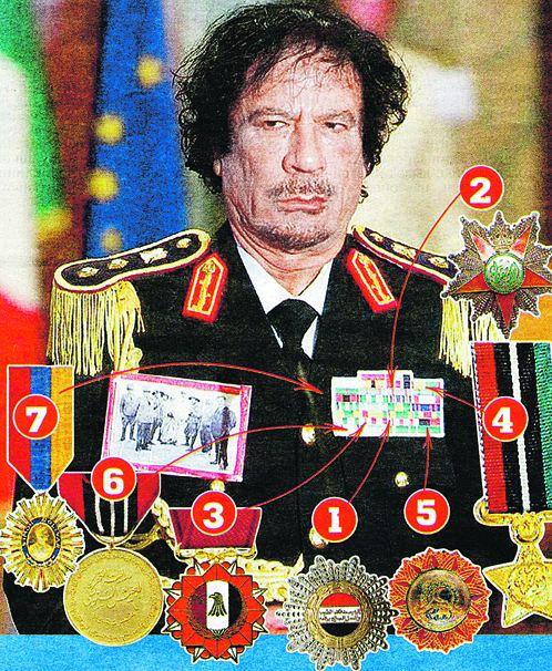 1. Орден Почета; 2. Орден Независимости; 3. Орден Военной звезды; 4. Орден Заслуг; 5. Орден Полумесяца; 6. Медаль Освободителя; 7. Орден Симона Боливара (Венесуэла)