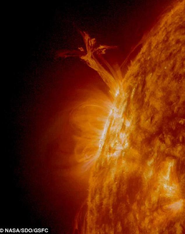 Протуберанец в форме ангела. Фото НАСА