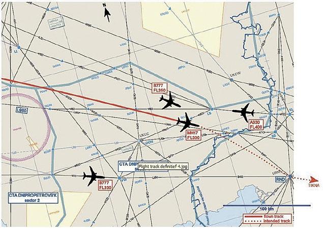 Карта прохождения авиамаршрутов в районе катастрофы борта МН17. 17.07.2014
