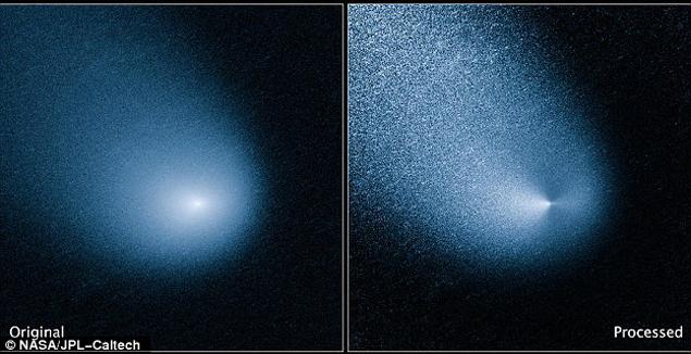 Так комета C/2013 A1  выглядит сейчас: слева реальный снимок, справа обработанный - демонстрирует ядро.