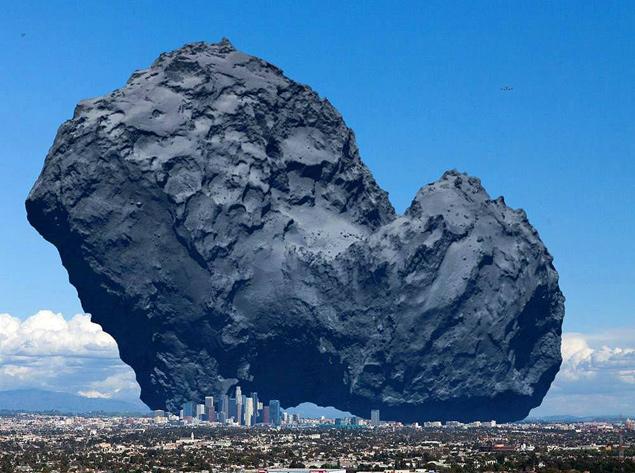 Ядро кометы Чурюмова-Герасименко в одном масштабе с Лос-Анжелесом