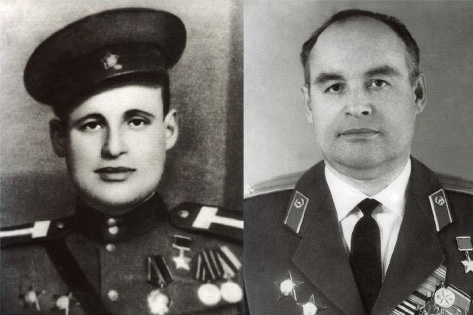 Владимир Игнатьев - участник парада Победы (слева), и в звании подполковника
