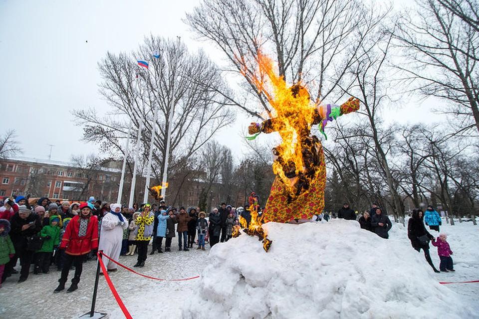 Кульминацией праздника, как всегда, стало сожжение чучела.