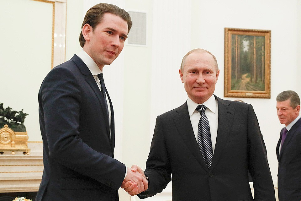 Канцлер Австрии Себастьян Курц и президент РФ Владимир Путин