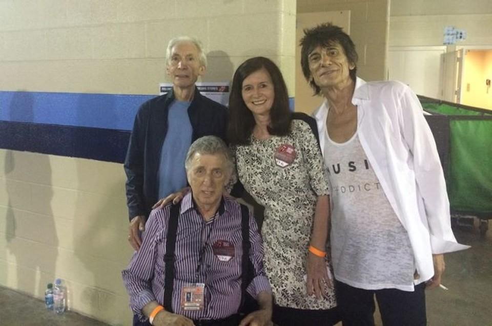 Д.Джей Фонта вместе с барабанщиком Чарли Уоттсом и гитаристом Роном Вудом из The Rolling Stones