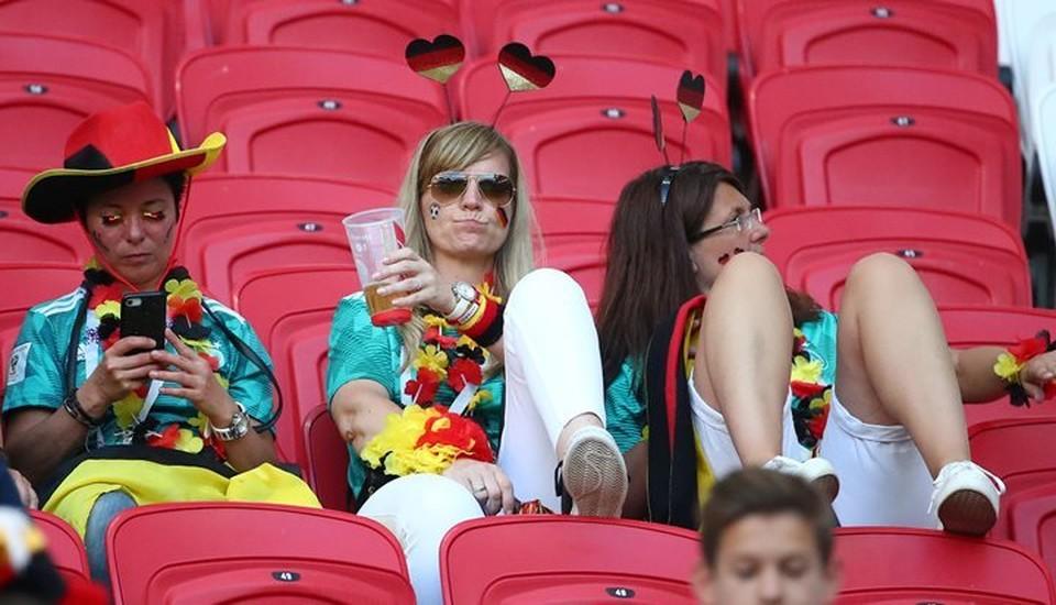 Немецкие болельщики на матче сборной Германии с командой Южной Кореи