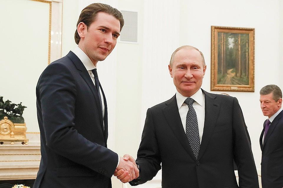 Президент РФ Владимир Путин и канцлер Австрии Себастиан Курц
