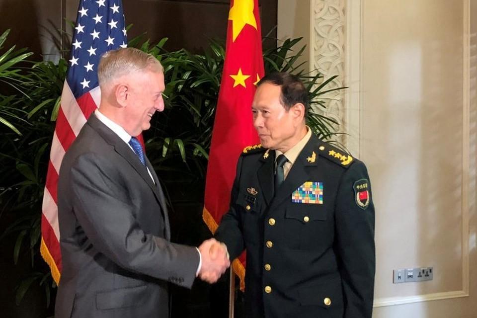 Глава Пентагона Джеймс Мэттис и министр обороны Китая Вэй Фэнхэ