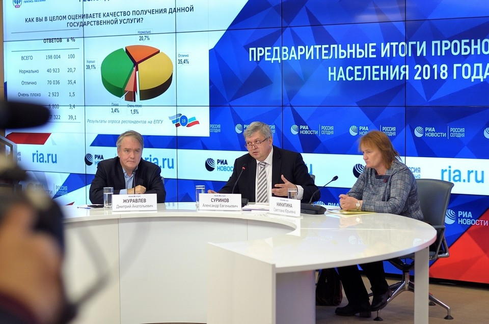 Глава Росстата Александр Суринов подвел предварительные итоги пробной переписи населения. Фото: www.ppn2018.ru
