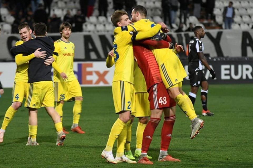 БАТЭ празднует выход в плей-офф Лиги Европы. Фото: Reuters
