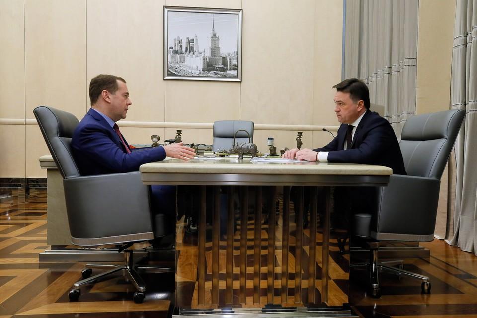 Премьер-министр Дмитрий Медведев встретился в Доме Правительства с губернатором Московской области Андреем Воробьёвым. Автор фото: пресс-служба Правительства РФ