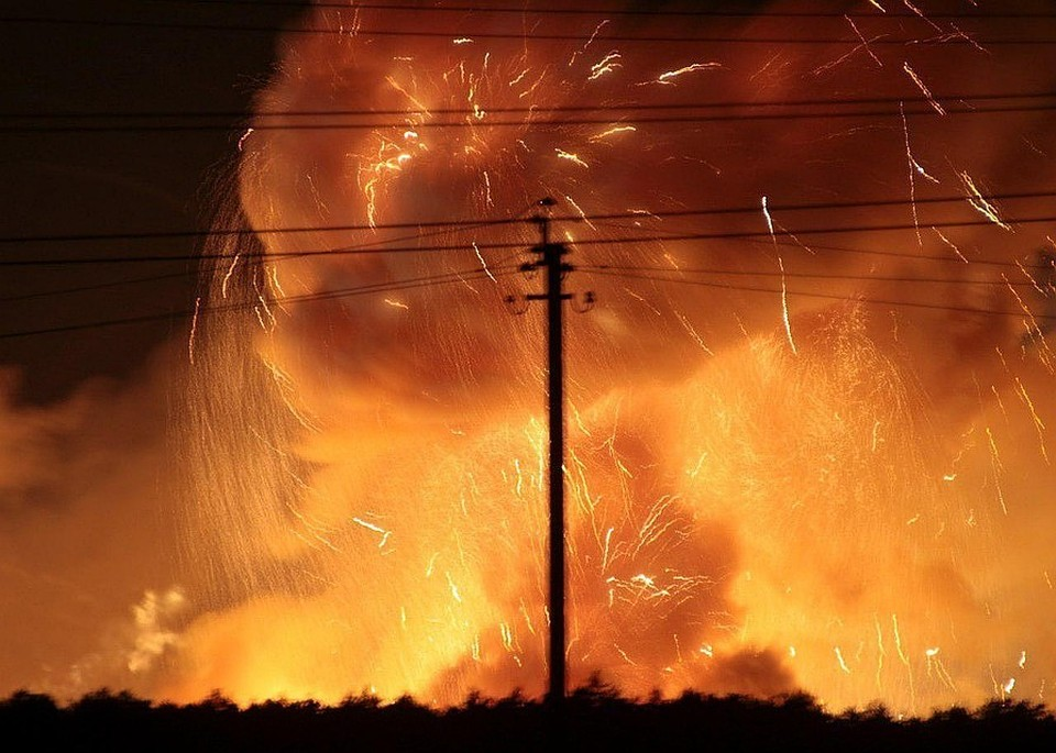 Возгорание на складах боеприпасов под Черниговом