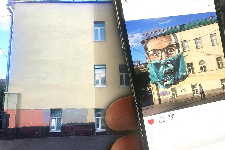 Рисунок «Дайвинг в Москве» красовался на торце дома №6 стр. 3 по улице Старой Басманной.