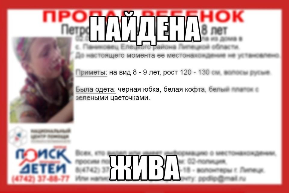 Пропавшую в Липецко области 8-летнюю девочку нашли
