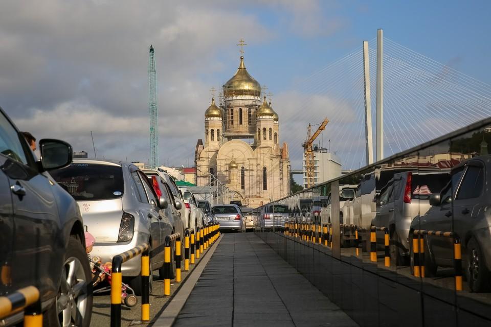 Место нападения в центре Владивостока