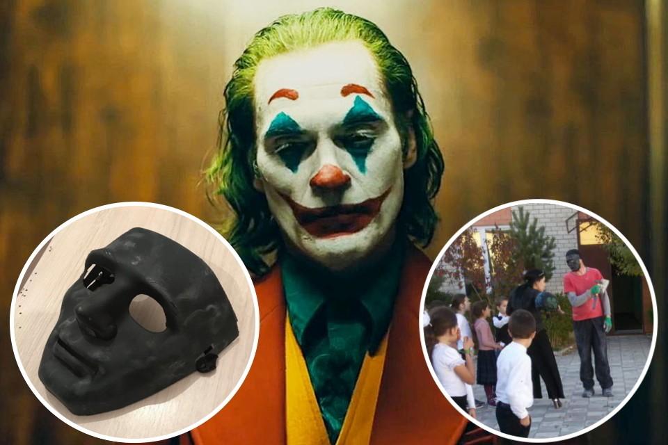 Фото: кадр из фильма «Джокер» (2019) / маска нападавшего и кадр с места происшествия