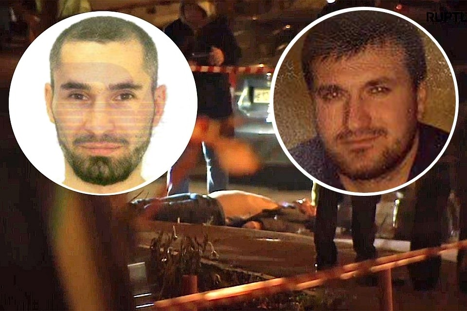 Слева — фото из паспорта по которому покинул страну убийца Ибрагима Эльджаркиева. Справа — его настоящее фото. Фото: кадр видео / личная страница Курейши Картоева в соцсетях / интернет-издание «Baza»