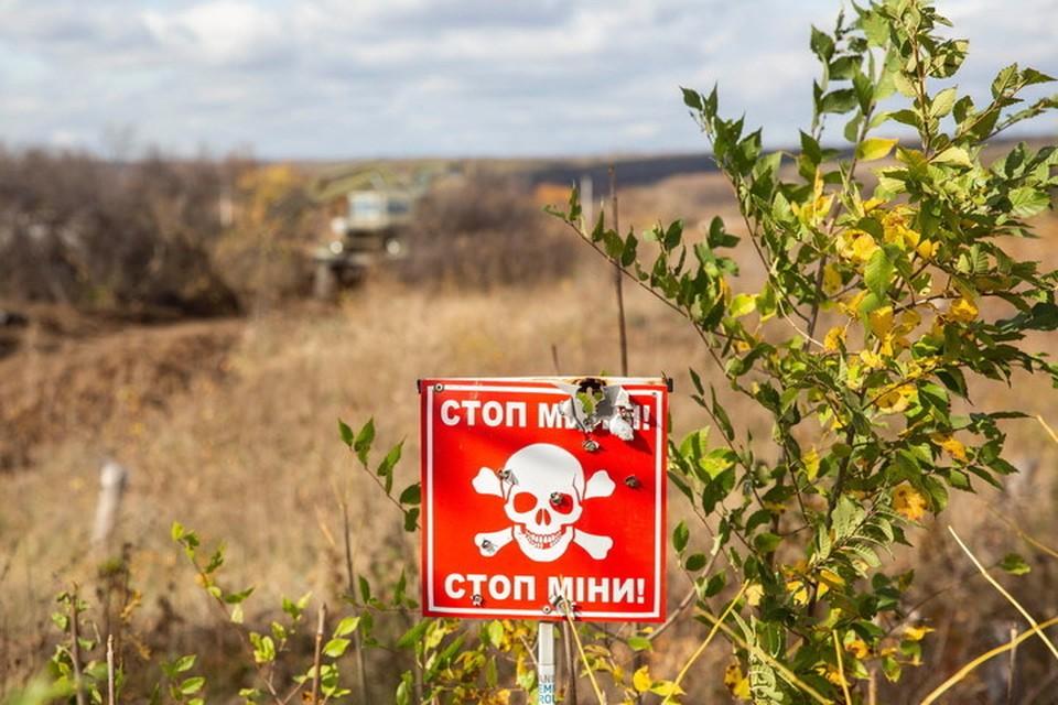 В Донбассе далеко не везде, где установлены мины, есть предупреждающие об опасности таблички. Фото: Пресс-центр штаба ООС