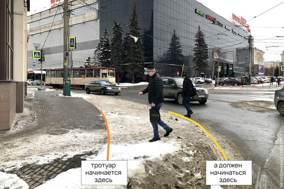 Снег на дорогах явно показывает, какие участки не используются автомобилями. Фото: vk.com/chelurban