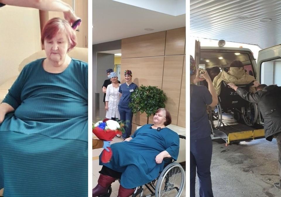"""Самая толстая тюменка вернулась домой после двухмесячной борьбы с лишними килограммами. Коллаж из фотографий МСЧ """"Нефтяник""""."""