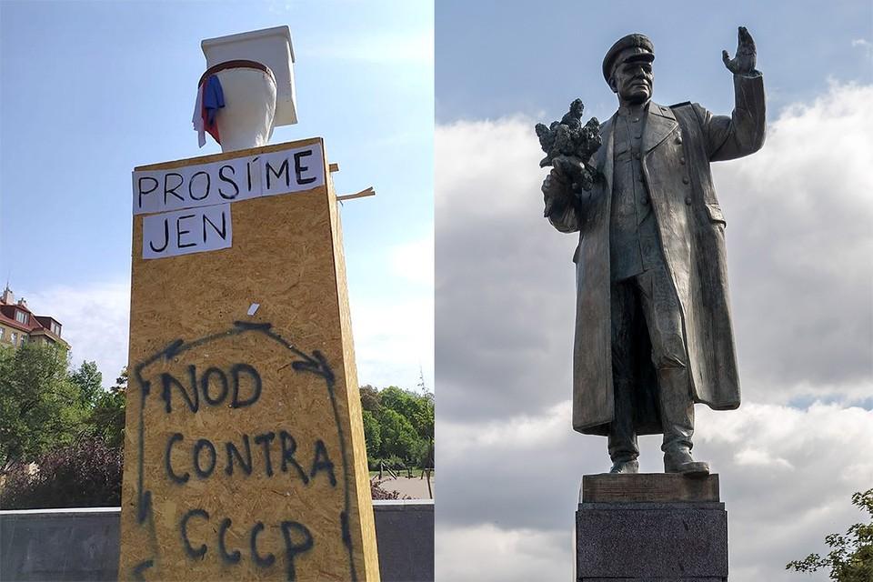 На месте памятника Маршалу Коневу в Праге появился унитаз. Фото: EPA/MARTIN DIVISEK/ТАСС + Twitter