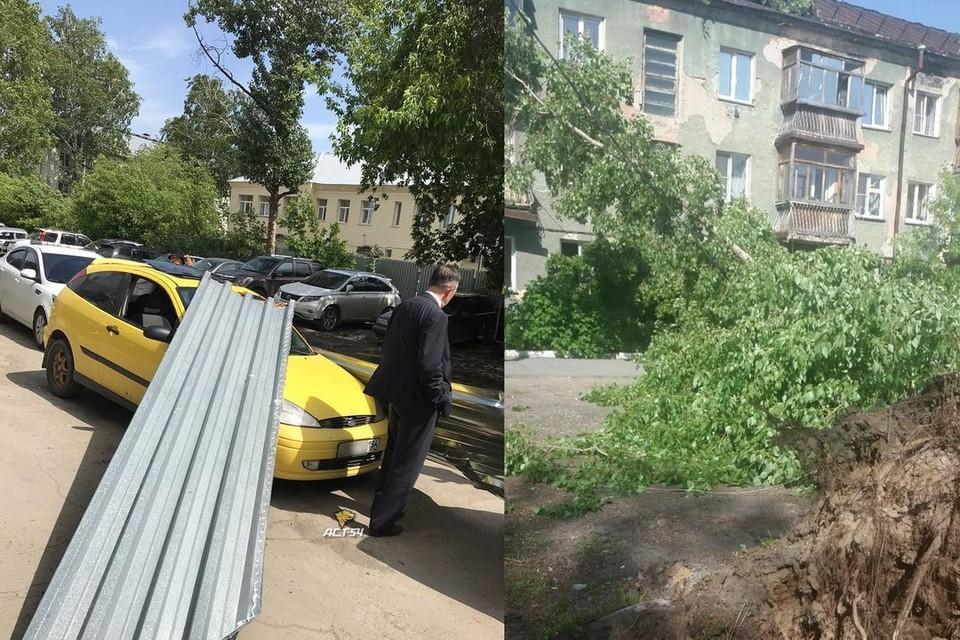 Ветел валил деревья и срывал шифер с крыши. Фото: «АСТ-54», «Инцидент Новосибирск».
