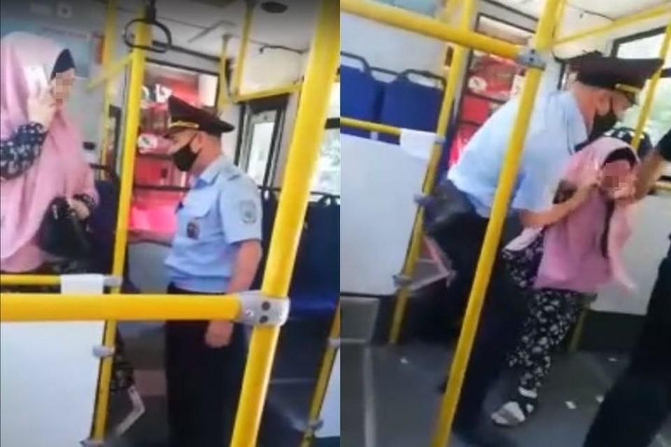 Женщина упорно не хотела покидать транспорт по требованию правоохранителей. Фото: Кадр из видео