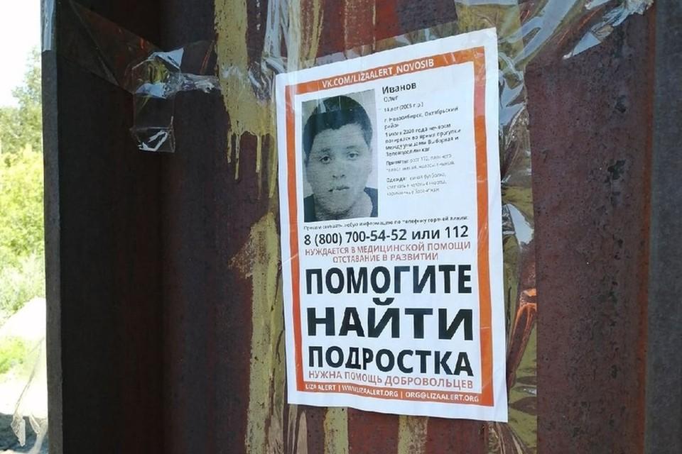 В Новосибирске продолжаются поиски 10-летнего Олега Иванова. Фото: «Лиза Алерт».