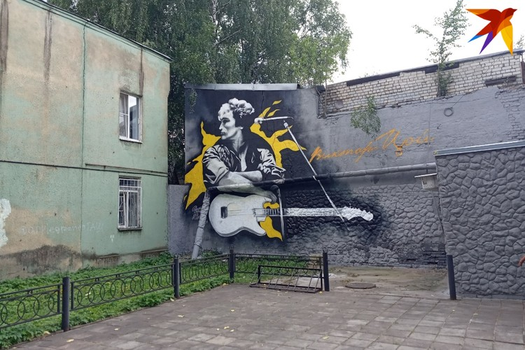 Виктор «Джокер» Лебедев изобразил на стене в Твери Виктора Цоя.