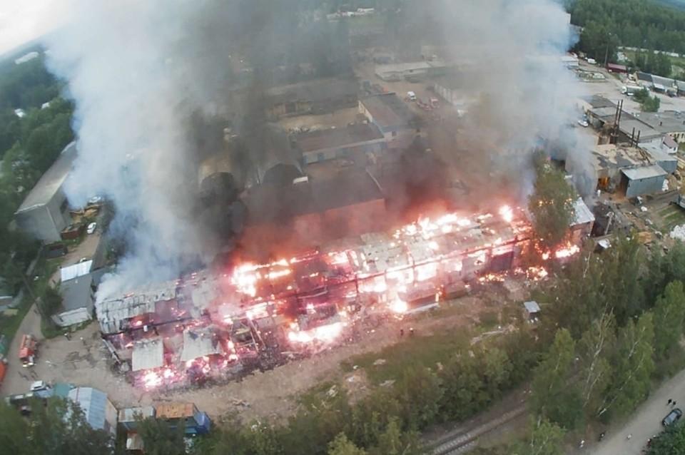 92 пожарных потушили жуткий пожар в ангаре деревообрабатывающего завода. Фото: vk.com/spb_today