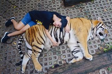 Жительницу Таиланда раскритиковали в соцсетях за странное фото с тигром