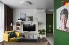 Ремонт в квартире с видом на Национальную библиотеку: зеленые стены, дверь-невидимка, мебель из IKEA, бойлер и стиралка - в шкафу