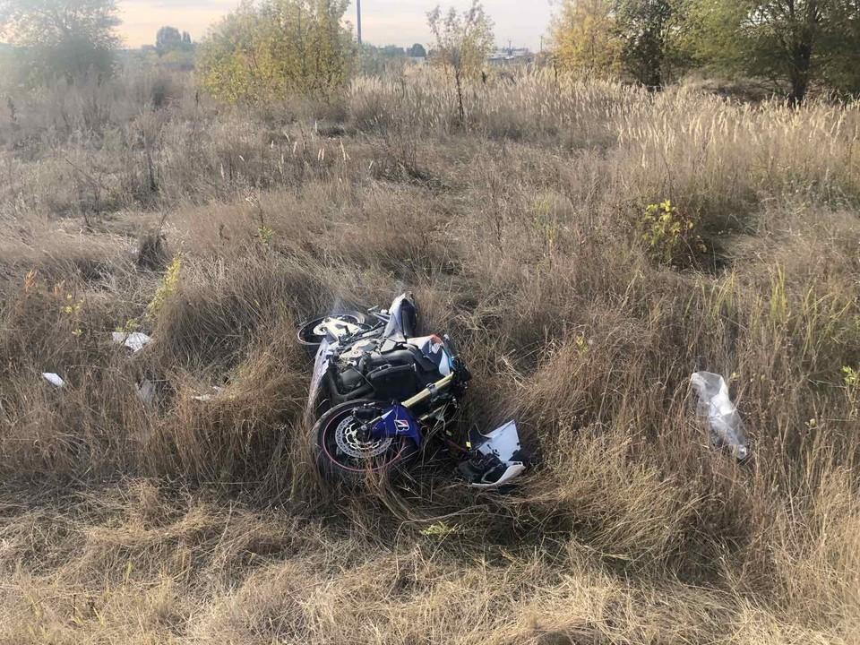 Мотоциклист не справился с управлением