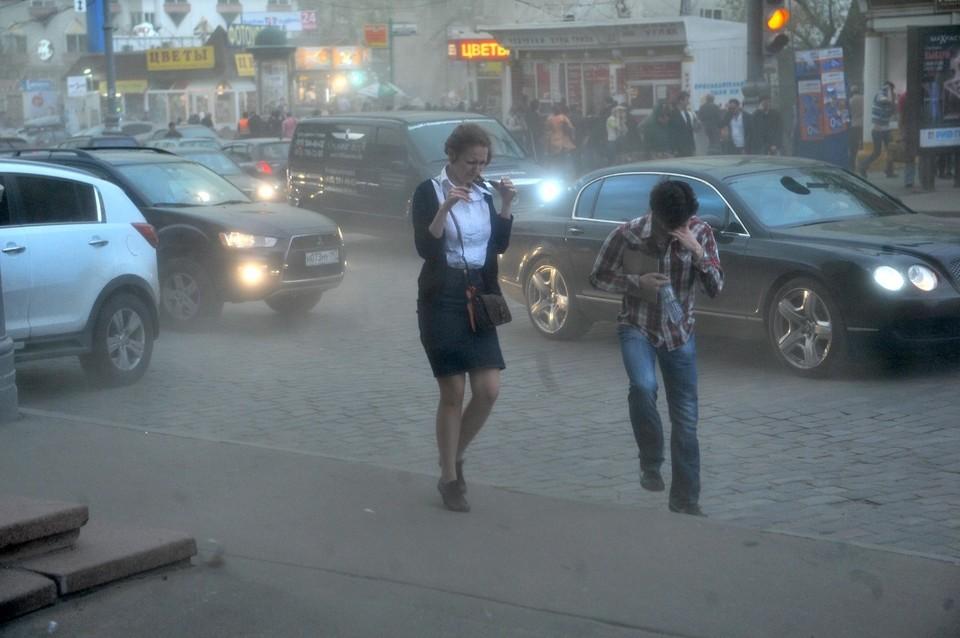 Песчаная буря накрыла город.
