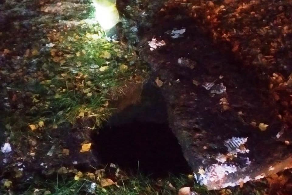 Ребенок упал в открытый канализационный люк во время прогулки с бабушкой