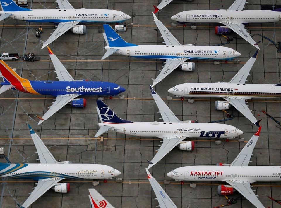 Самолеты Boeing 737 MAX в ожидании разрешения на эксплуатацию.