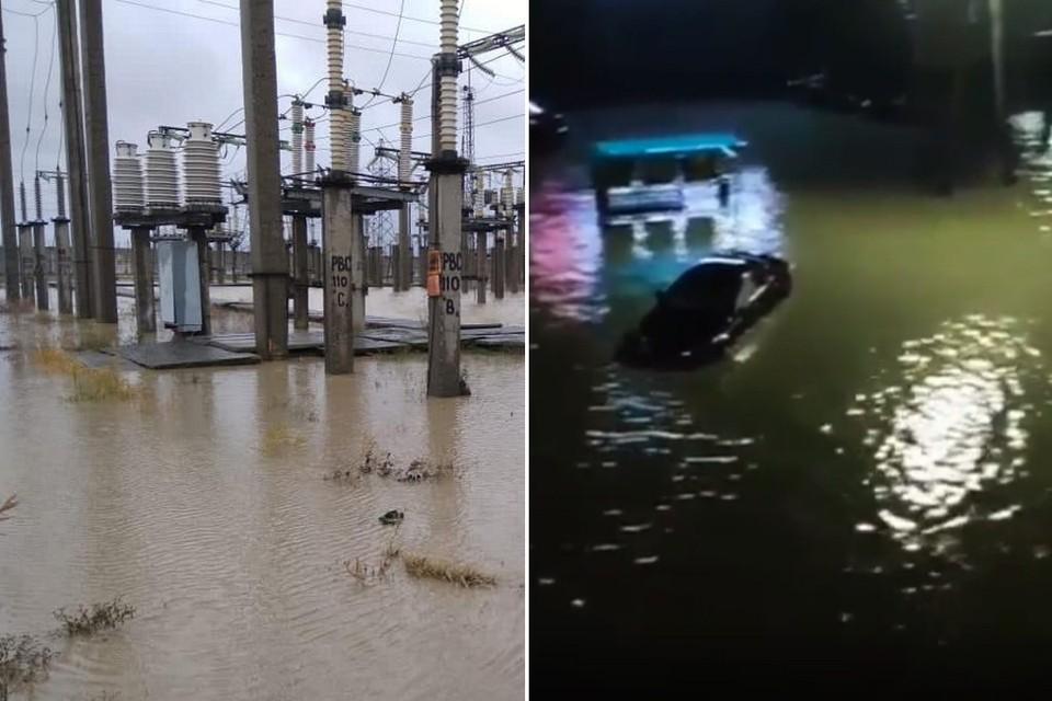 Затопленная подстанция и подтопленная улица Махачкалы